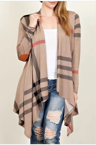 Plaid Print Light Weight Cardigan in Mocha - Plus Size