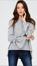 Casual and Chic Grey Sweater with Bell Sleeves & Ties