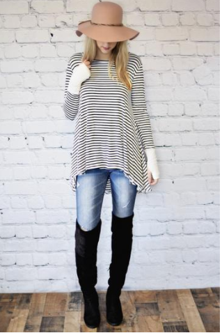 Madi Stripe Thumbhole Tunic - White/Black - Restocked for Fall 2018