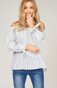 The Aria Striped Off the Shoulder Top - Taupe or Light Blue