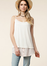 Layered Tank Top with Pale Pink Stripe