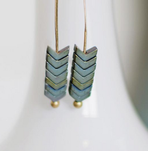 Arrow Stone Drop Earrings - 5 Colors Available
