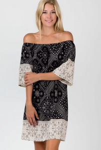 Black & White Paisley - Off the Shoulder Dress