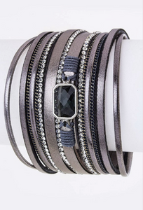 Crystal Layer Leather Cuff Bracelet