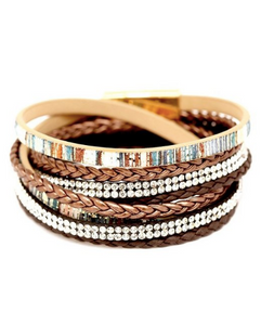 Multi-colored Braided Rhinestone Multi-layered Bohemian Leather Bracelet
