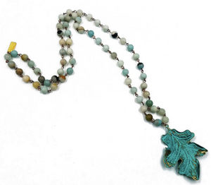 "Patina Leaf Necklace 19"" Long"