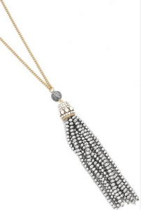 Gold & Silver Tassel Bead Necklace