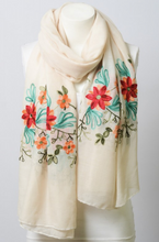 Floral Accent Embroidered Scarf