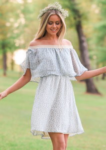 Off the Shoulder Disty Dress with Crochet Detail