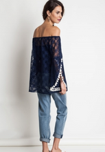 Off the Shoulder Navy Lace with Tassel Sleeves