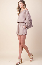 Camilia - Romper with Lace Sleeves - Mocha