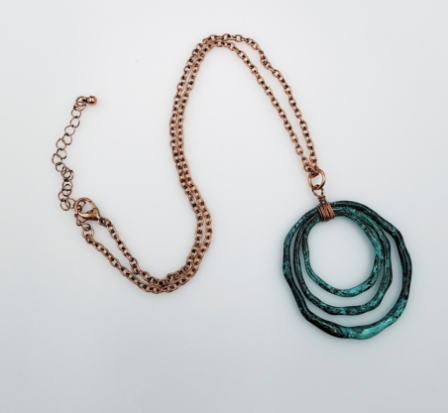 Triple Loop Necklace - Patina & Gold