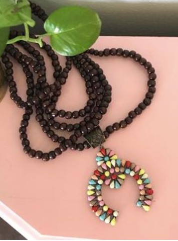 Multi-Color Double Wooden Strand Squash Blossom Necklace