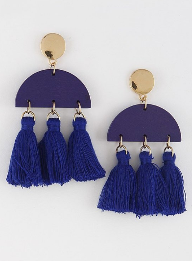 Navy Jean Tassel Earrings