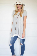 All Day Chic Lace Trim Tunic (Grey or Black)
