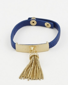 Blue & Gold Fringed Bracelet