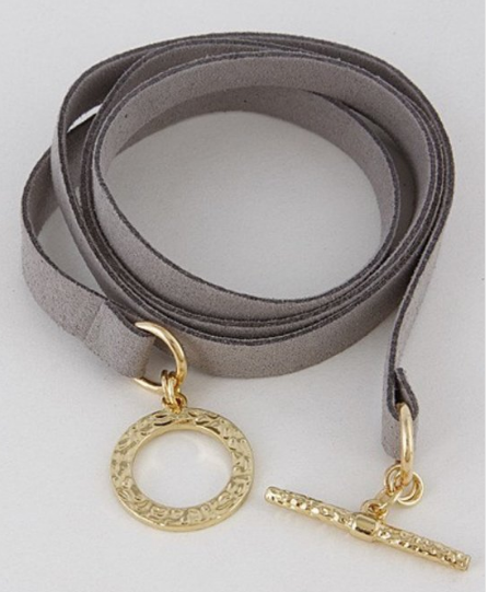 Grey & Gold Wrap Bracelet