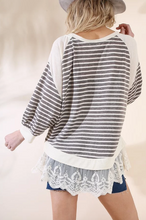 Stripes & Lace Sadie Top - Charcoal/Ivory