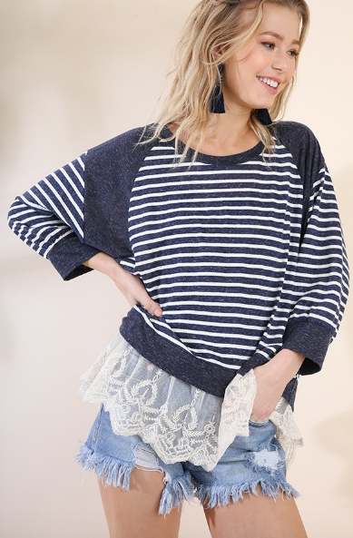 Stripes & Lace Sadie Top - Navy/Ivory