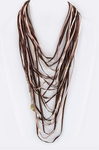Boho Layered Necklace - Burgundy