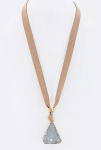 Triangle Druzy Pendant Necklace