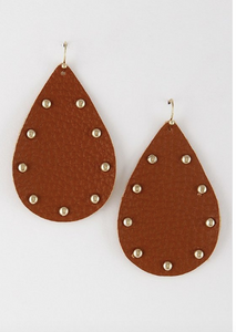 Leather & Tear Drop Studded Earrings