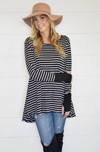 Carly Stripe Thumbhole Tunic - Black/White