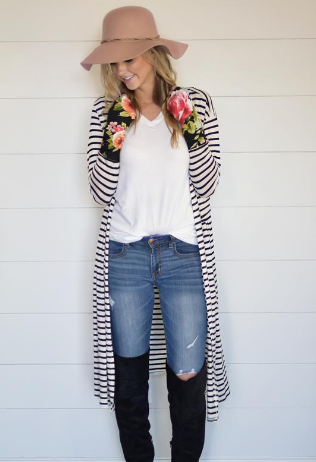 Whitney Stripe Long Cardigan - Wholesale