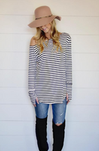The Reese Top - B/W Stripes