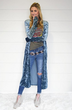 Meadow Blue Velvet Thumhole Cardi