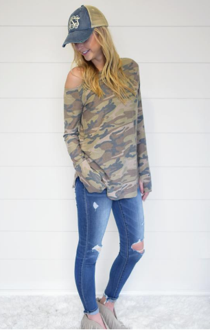 Camo Off the Shoulder Top with Thumbholes