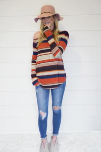 Stripe Off the Shoulder Top with Thumbholes - Pre-Order - Avail 11/15