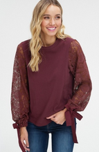 Lace, Bows & Wine Blouse