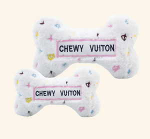 White Chewy Vuiton Bone Toy - Large