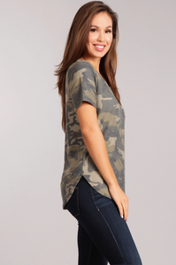 Camo Short Sleeve Top