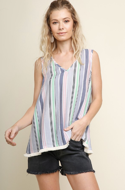 Stripe Tank w/Frayed Hems