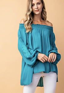 Teal Off the Shoulder w/Embroidered Sleeves