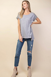 Ladder Detail Top - Heather Grey