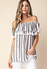 Stripes & Tassles Off the Shoulder