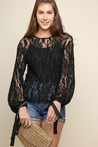 Sheer Floral Lace w/Ribbon Sleeve Ties (Black)