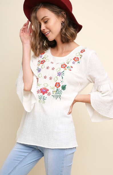 Floral Embroidered Tulip Bell Sleeve Top with Side Slits