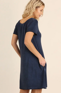 Washed Crossed V-Neck Pocket Dress