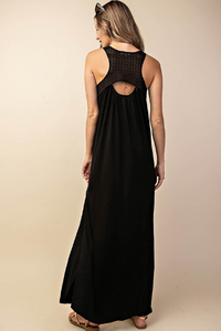 Mesh Yoke Maxi Dress - Black