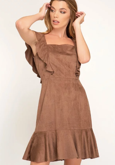 Mocha Faux Suede Party Dress