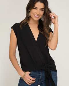 Black Sleeveless with Tie Top