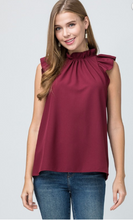 Mock-Neck Ruffle Top - Burgundy