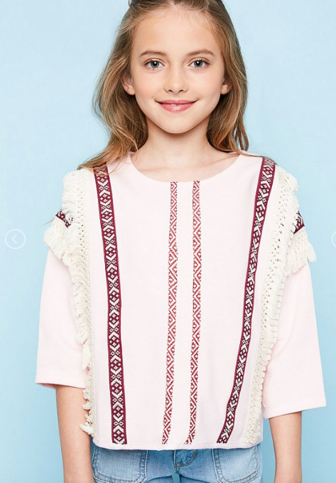 Embroidered French Terry Top