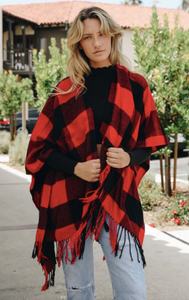 R&B Buffalo Check Tassel Poncho
