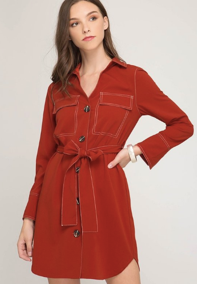 Rust Shirt Dress