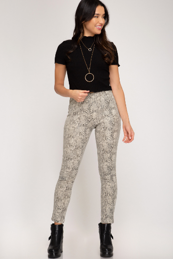 Snake Skin Faux Leather Pants